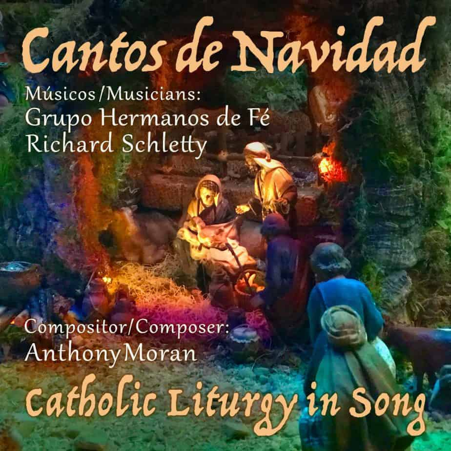 Album art for Cantos de Navidad. A Christmas nativity creche is illuminated by colorful lights.